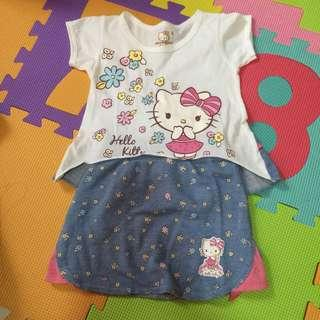 Hello kitty cropped top with skirt
