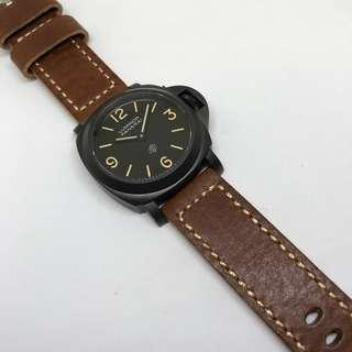 Black Friday Biggest Sale: 24mm Watch Strap Brown Colour Genuine Leather With Beige Stitching (Raw Edge) V1