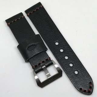 Black Friday Biggest Sale: 22mm Watch Strap Black Colour Genuine Leather With Brown Stitching V1