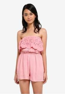 Supre coco pink crochet embroidered playsuit romper