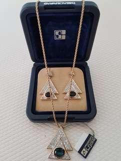 Brand New Authentic Swarovski Vintage Crystal Earrings and Pendant Set in 14K Gold Plating Setting.