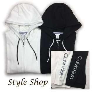 🚚 Calvin Klein CK 手臂字母Logo 內刷毛 連帽外套