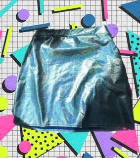 Holographic blue skirt