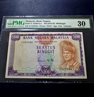 🇲🇾 Malaysia 2nd Series RM100 Banknote~First Prefix A4~PMG 30 Very Fine