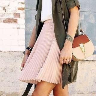 dusty Pink Pleated Skirt
