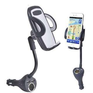 Car Phone mount Holder 2.4A dual usb charger power adpter