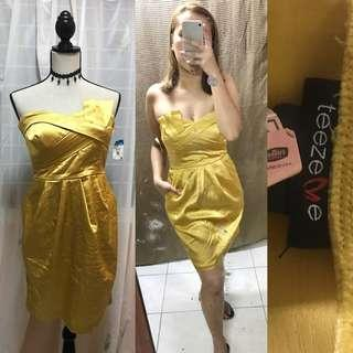 Yellow Gold Cocktail Dress Gown