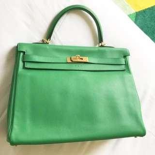 Hermes Kelly K35 HSS, Horse Stamp and special order, 2015, limited edition, GHW-green bambou, swift matte, mulus/perfect condition, rec paris, db, box complete set