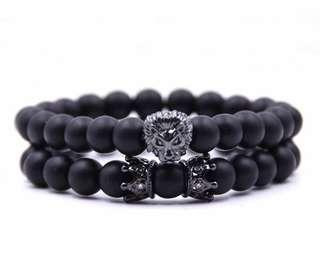 Men's custom 2 piece lion bracelet