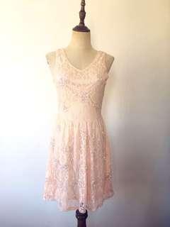 Embellished pink lace dress
