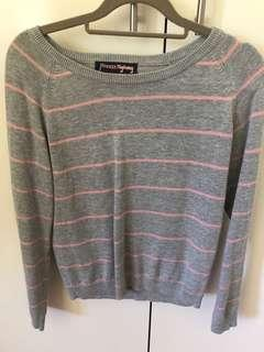 Princess Highway grey and pink striped sweater