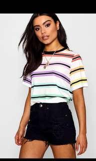 Colorful Stripes oversized crop top