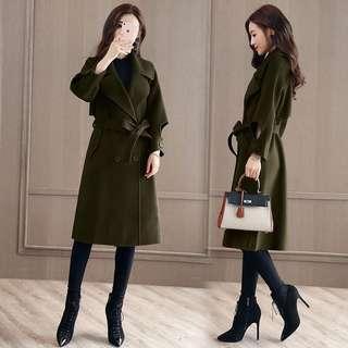 軍綠色 蝴蝶結綁帶 顯瘦腰身 優雅名媛 羊毛大衣 羊毛外套