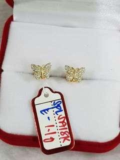 18K Saudi Gold Butterfly Earrings