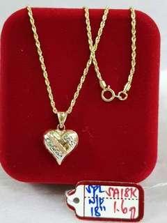 18K Saudi Gold Necklace w/Heart pendant