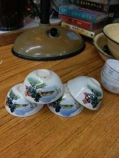 手繪薄胎 山水風景紋 功夫茶杯四隻(加送旁邊三隻)