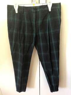 Sportsgirl navy and green check trousers