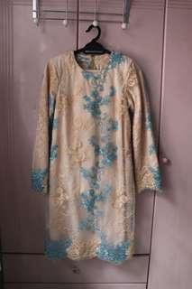 NUDE Baju Kurung with Blue Lace