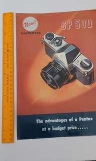 Asahi Pentax SP 500  Flyers/Brochure