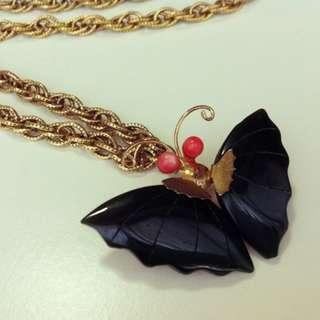 CORO Upcycled Black Butterfly Necklace