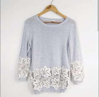 C&S Pale Blue with Lace Sweater