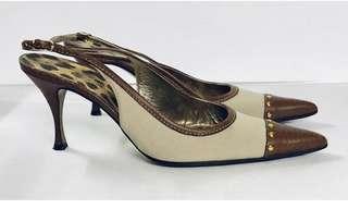 Dolce & Gabbana Canvas Leather Sling Back Heels, Designer, Italy 5665 4002 39.5