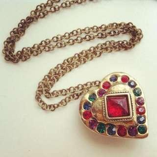 LES BERNARD Upcycled Gripoix Heart Necklace