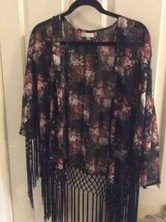 "Floral ""kimono"" sheer cardigan"