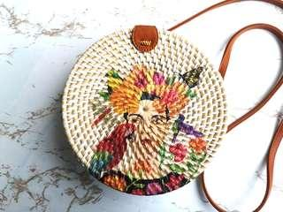 Rattan Bag in White with mother nature