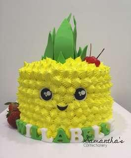 Single Tier Pineapple Design Cake