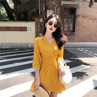 Polkat Dots Yellow Dress