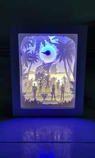 One Piece LED White wooden frame