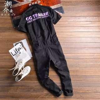 歐美街頭嘻哈連體工裝褲刺繡免運費
