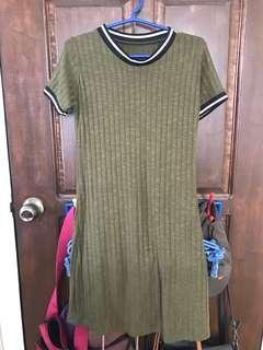Olive Green Ringer Dress