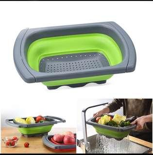 Over top counter sink strainer collapsible drain basket