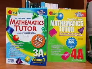 Upper Secondary 3A & 4A Mathematics Tutor Assessment Workbooks