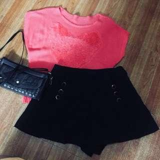 Terno (korean pink knitted top and korean black palda shorts)