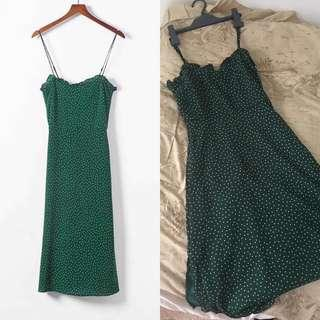 Green polka dot midi dress