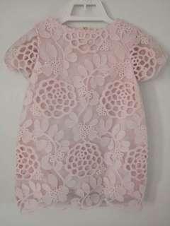 Gingersnaps Laser Cut Pink Lace Dress
