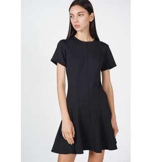 MDS Collection Kassandra Flare Hem dress in black Size: S