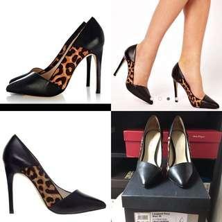 90% new Karen Millen Leopard Print Pointed Toe High Heel Court Shoes