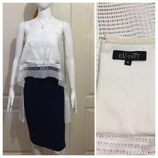 NC122 Elliat elegant white high-low eyelet top