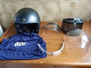Agv retro helmet + bubble + plain + tinted visors