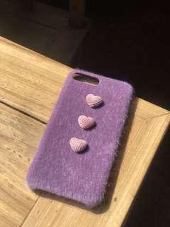 🚚 紫色小心心絨毛手機殼