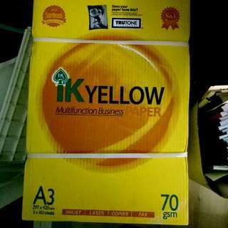 IK Yellow A3 paper 70gsm (New)