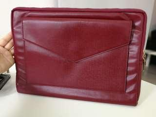 Luxurious Leather Laptop Case with Fur Lining