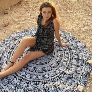 Black Mandala Beach Mat