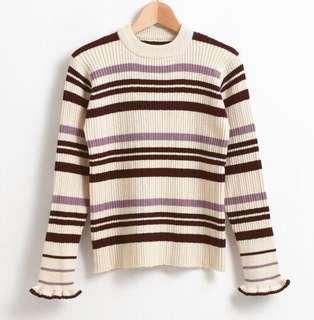 ✨HIT!人氣~18日本majestic legon 复古花邊間條針織上衣 冷衫