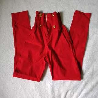 Red high waist pants