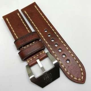 Black Friday Biggest Sale: 24mm Handmade Watch Strap Brown Colour Genuine Leather With Beige Stitching V1
